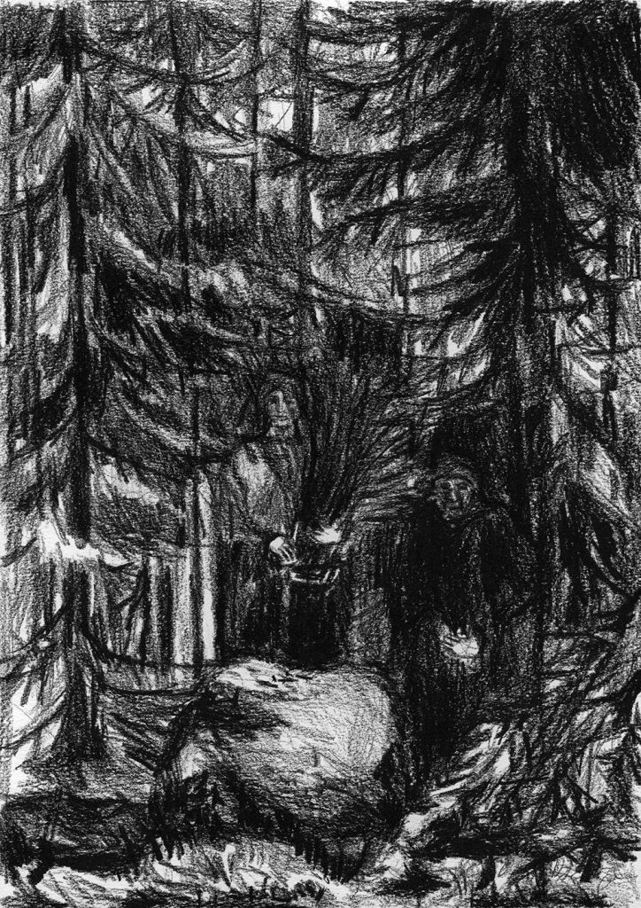 Black and white drawing of two women in forest